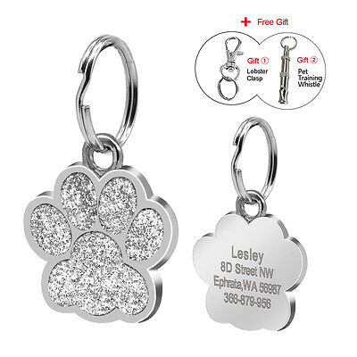 Paw Print Cat Dog Name ID Tags Personalized Single Side Engraved Pet Tag Disc