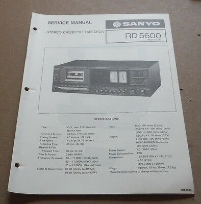 Sanyo Stereo Cassette Tapedeck Service Manual RD 5600 1977 ( vintage audio )