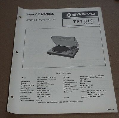 Sanyo Stereo Turntable TP1010 Service Manual 1978 ( record player gramophone )