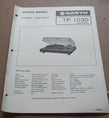 Sanyo Stereo Turntable TP1030 Service Manual 1979 ( record player gramophone )