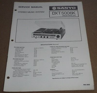 Sanyo Stereo Music System Service Manual DXT500K ( turntable record player