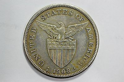 1908 S One Peso Philippines KM# 172 Silver U.S. Administration