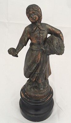 La Bouquetiers Spelter French Statue On Wooden Base