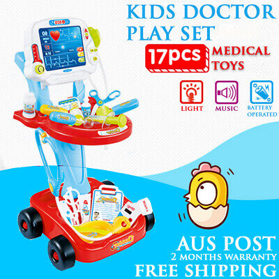 2017 Pretended Doctor Nurse Medical Cart Medical Role Play Set Kids Girl Toy Red