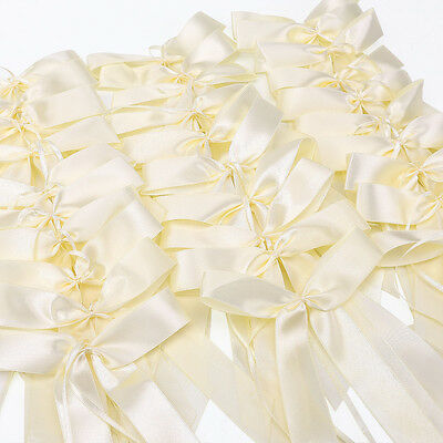 50x Ivory Ribbon Bows Wedding Favors for Gift Car Card decor