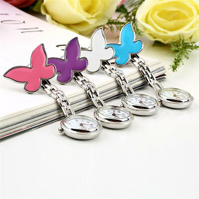 Butterfly Nurse Watch Chrome Clip Pocket Watch for Pouch with SSare Battery SSG