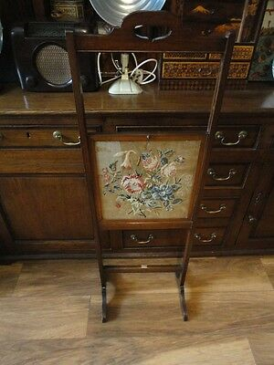 Rare Antique Edwardian Oak and Tapestry Adjustable Sliding Fire Screen