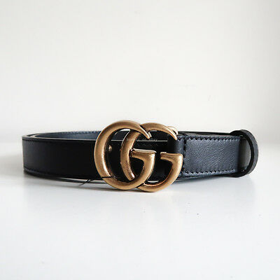 BN GUCCI 'leather belt with double g buckle' black antique gold skinny thin 85