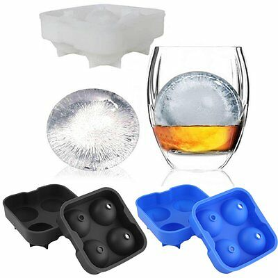 Round Ice Balls Maker Tray FOUR Large Sphere Molds Cube Whiskey Cocktails BVBRE