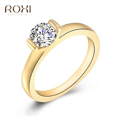 Wholesale 18K Yellow Gold Plated Crystal Ring Women Fashion Costume Jewelry