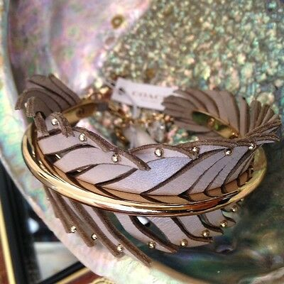 Beautiful COACH New York Leaf / Feather motifs Leather Bracelet Bangle