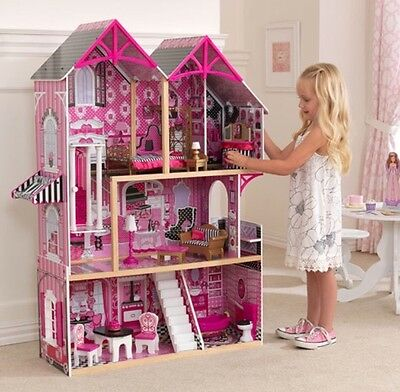 Girls Wooden Couture Large Dollhouse + 14 Pieces of Furniture Role Play KidKraft