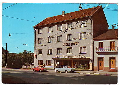 Renault Dauphine - Opel Rekord P2 - Hotel Café Alte Post  - CPM45