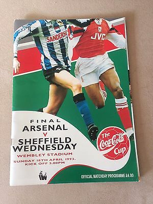 Coca Cola Cup Final Arsenal v Sheffield Wednesday 1993 Official Programme