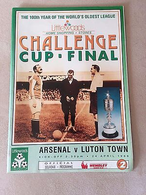 Littlewoods Challenge Cup Final 1988 Arsenal V Luton Town Rare Programme