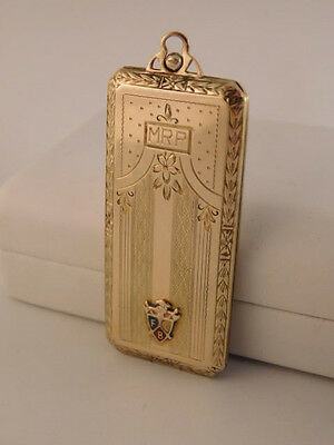 Knights Of Pythias 10K Gold Filled Locket Case Pendant Fcb Chased