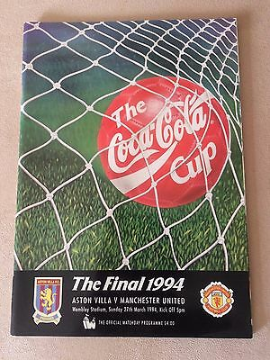 The Coca Cola Cup Final 1994 Aston Villa V Manchester United Official Programme