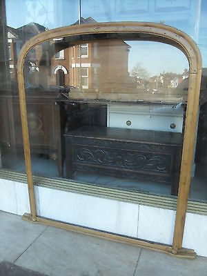 Large Victorian Antique Pine Mirror Frame / Victorian Pine Overmantle Frame