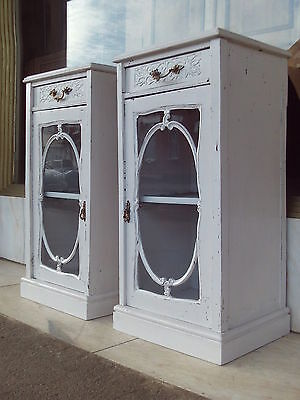 Pair Of Edwardian Antique Painted Glazed Bedside Cabinets /  Lamp Cupboards