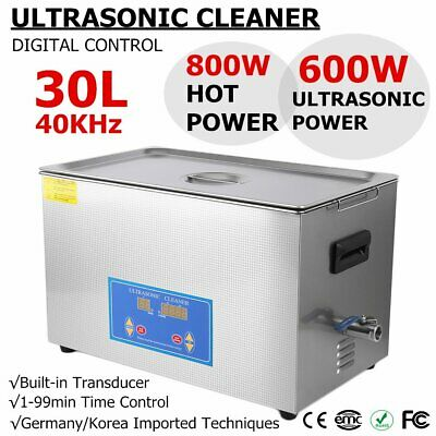 New Stainless Steel 30L Liter Industry Heated Ultrasonic Cleaner Timer Digital M