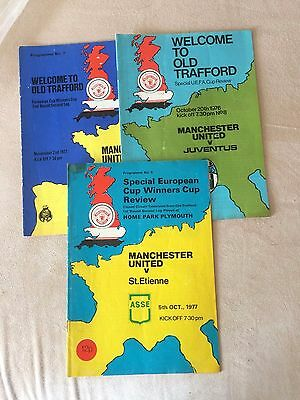 3 European Cup Winners Cup Programmes Manchester United 1976/77