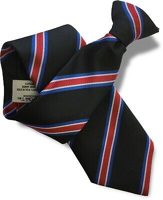 Black Mens Safety Security Clip On Tie Clipper Black  Red White and Blue Stripes