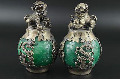 Rare Miao Silver Carve Kylin & Dragon Phoenix Inlay Green Jade Lucky Pair Statue