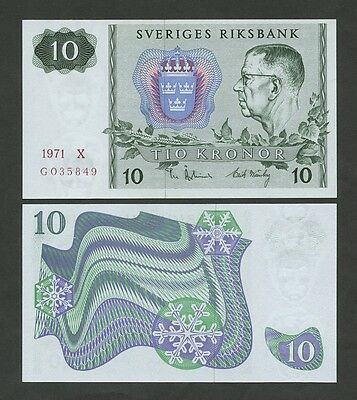 SWEDEN - 10 kronor  1971  P52c  Uncirculated  ( Banknotes )