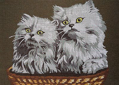 """Tapestry Gobelin Needlepoint Kit """"White cats"""" printed canvas cod.1990"""