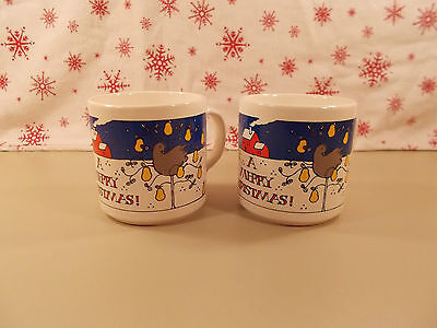 Vintage Partridge in a Pear Tree Christmas Mugs Set of 2 - NEW WITHOUT BOX