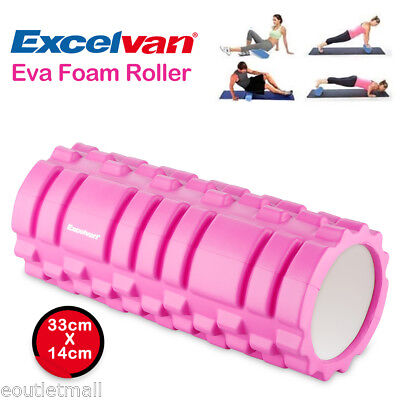 32cm Grid Foam Roller Trigger Point Gym Pilates Massage Physio Injury Yoga Black