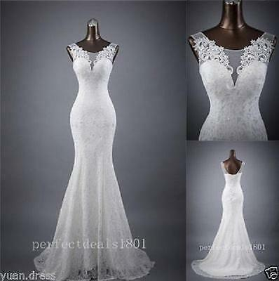 Mermaid White/Ivory Bridal Gown Wedding Dress Custom Size 4 6 8 10 12 14 16 18++
