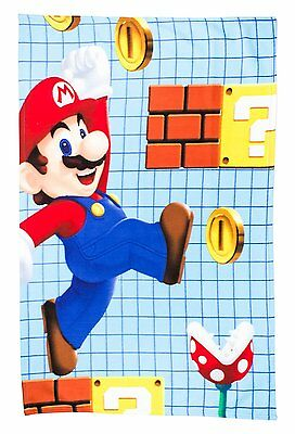 SUPER MARIO Large Fleece Blanket Nintendo Kids Throw Over Huddle Bed Cover