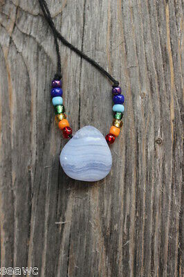 BLUE LACE AGATE Necklace with Chakra Centers Glass Beads Rainbow
