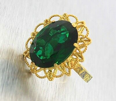 ANTIQUE >>LADY'S FANCY>>18k GOLD RING WITH GREEN STONE AT 9.4 gr.