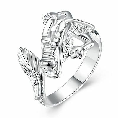 925 Silver Plt Adjustable Chinese Dragon Ring Statement Celestial Thumb Men A