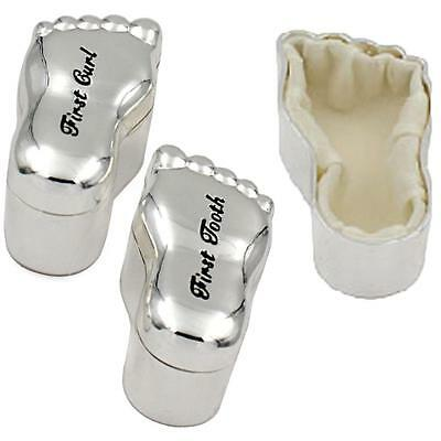 "Baby's Silver Feet Shape Trinket ""1st Tooth & 1st Curl"" Box Set"