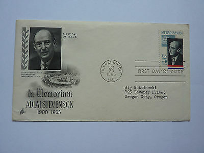 First Day Issue Cover 1965 ADLAI STEVENSON 5C STAMP ART CRAFT FDC