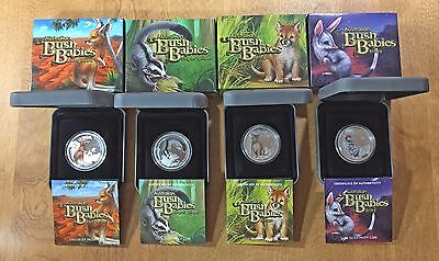 2010 2011 Bush Babies Series AUSTRALIA 1/2 oz 50c Silver Proof Color 4-Coin LOT