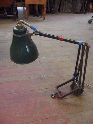old vintage industrial machine light anglepoise counterbalance enamel shade lamp