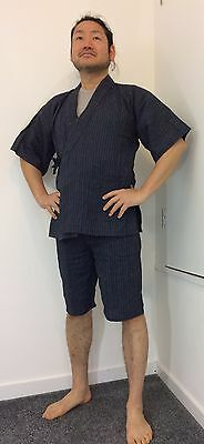 Authentic Japanese jinbei for men, traditional summer wear, used, S, blue(G1108)