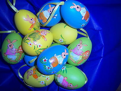 12 Happy Easter Painting Eggs Hanging Decorations