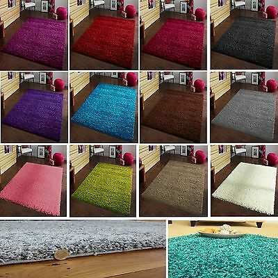 SMALL LARGE THICK 5cm PILE PLAIN MODERN NON-SHED SOFT SHAGGY RUG CARPET RUGS