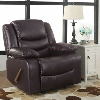 Brown Oversized Leather Rocker Recliner Arm Chair Recliners Nursery Armchair NEW