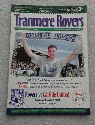 547) Tranmere Rovers v Carlisle United  programme Worthington cup 11-8-1998