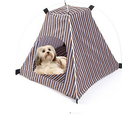 Newest Pet Tent Stripes Portable Dog House Outdoor Travel Cat Kennel Bed W/Mat