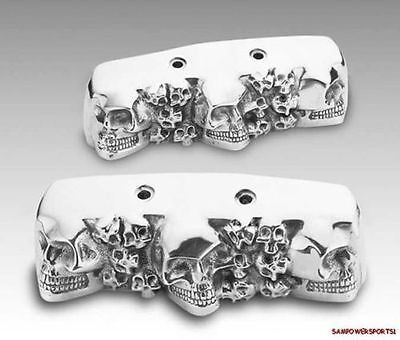 Multiple Skulls  Rocker Box End Covers Harley Twin-Cam 99 - Up Three Dimensional