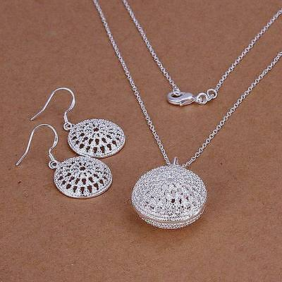 Xmas GIFT 925Solid Silver Jewelry Sets Necklace&Earring