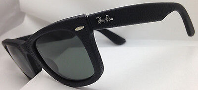Ray-Ban Black Leather Wayfarer Sunglasses 50mm Green G-15 Lens RB2140QM 1152/N5