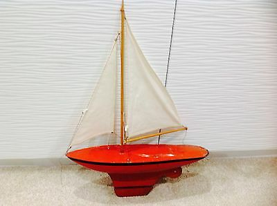 "Vintage Tri-ang 14"" METAL/TIN hull  Model Pond Boat Plastic Sailing Ship Yacht"